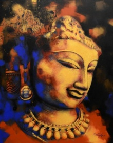 Religious Acrylic Art Painting title 'Sunanya' by artist Devendra Nimbargikar
