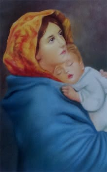 Motherjesus | Painting by artist Sumithran O M Oravanthuruth House | oil | Canvas