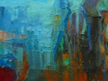 Abstract Oil Art Painting title 'Blue Memories' by artist Abhishek Kumar