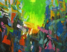 Abstract Oil Art Painting title 'Green Sky' by artist Abhishek Kumar