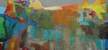 Abstract Oil Art Painting title 'Read The City 5' by artist Abhishek Kumar