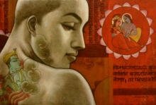 Figurative Mixed-media Art Painting title 'Avisar 3' by artist Sukanta Das