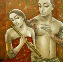 Figurative Mixed-media Art Painting title 'Couple 1' by artist Sukanta Das