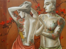 Figurative Mixed-media Art Painting title 'Couple 2' by artist Sukanta Das