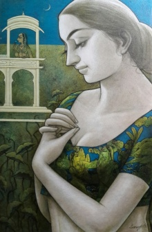 Figurative Mixed-media Art Painting title 'Radhika 4' by artist Sukanta Das