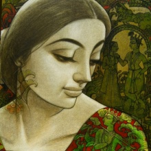 Figurative Mixed-media Art Painting title 'Radhika 5' by artist Sukanta Das