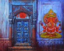 Religious Acrylic Art Painting title Door by artist Anil Yadav