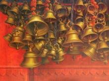 Religious Acrylic Art Painting title Varanasi 11 by artist Anil Yadav