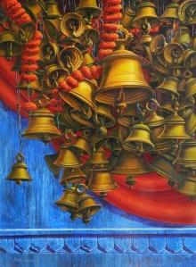 Religious Acrylic Art Painting title Varanasi 16 by artist Anil Yadav
