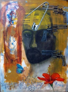 Agonising Christ 1 | Painting by artist Avi Roy | mixed-media | Arches Paper