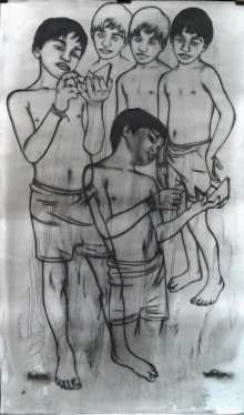 art, drawing, ink, pastel, fabriano paper, figurative