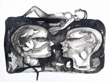 Ink-charcoal Paintings | Drawing title Untitled 10 on paper | Artist Milan Desai