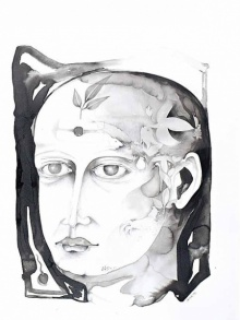 Figurative Ink-charcoal Art Drawing title 'Untitled 13' by artist Milan Desai