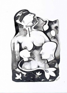 Ink-charcoal Paintings | Drawing title Untitled 2 on paper | Artist Milan Desai