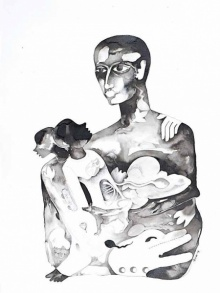 art, drawing, ink, charcoal, paper, figurative
