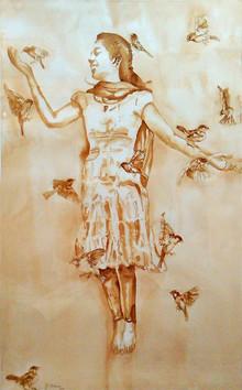 Figurative Watercolor Art Painting title Celebration Of Life by artist Afza Tamkanat