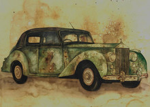 Transportation Coffee & watercolor Art Painting title Vintage Car 4 by artist Afza Tamkanat