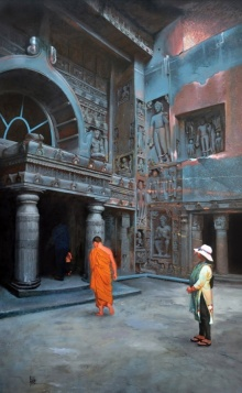 Chaitya Griha 1 | Painting by artist Raju More | oil | Canvas