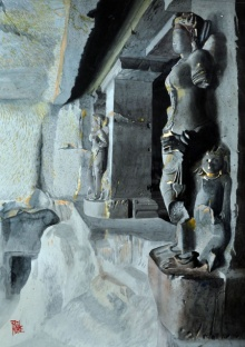 Yajanashala Dwarpala | Painting by artist Raju More | watercolor | Paper