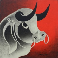 Bull Head 1 | Painting by artist H R Das | acrylic | Canvas