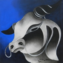 Animals Acrylic Art Painting title 'Bull Head 2' by artist H R Das