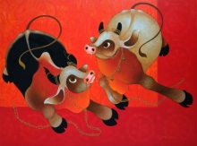 Animals Acrylic Art Painting title Playing Bulls by artist H R Das