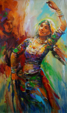 Figurative Acrylic Art Painting title The Celebration Gangour 2 by artist Ranjit Sarkar