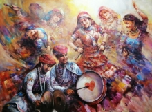 Figurative Acrylic Art Painting title The Celebration Gangour 4 by artist Ranjit Sarkar