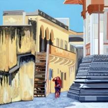 Cityscape Acrylic Art Painting title Jagat Shiromani Temple by artist Ajay Mishra