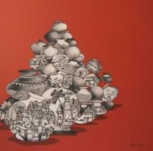 Manjunath Wali | Mixed-media Painting title Balance on Canvas | Artist Manjunath Wali Gallery | ArtZolo.com