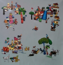 Manjunath Wali | Acrylic Painting title My Village 1 on Canvas | Artist Manjunath Wali Gallery | ArtZolo.com