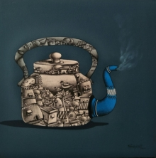 Still-life Mixed-media Art Painting title 'Tea Pot' by artist Manjunath Wali