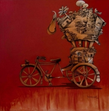 Manjunath Wali | Mixed-media Painting title Work Is Workship on Canvas | Artist Manjunath Wali Gallery | ArtZolo.com