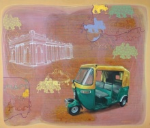 Transportation Acrylic Art Painting title 'For A Moment Together' by artist Shitangshu Mondal