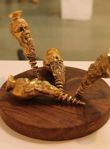 Brass, Wood Sculpture titled 'Screwed Up' by artist Navjot Sohal
