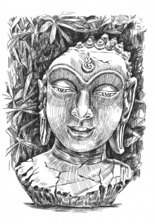 Figurative Pen-ink Art Drawing title 'Buddha Pen Ink 11 By 15 Inches' by artist Prashantarts
