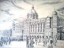 Pen-ink Paintings | Drawing title Prashant Sinha hotel Taj Mahal Mumbai Me on paper | Artist Prashantarts