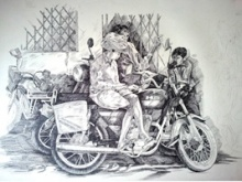 Figurative Pen-ink Art Drawing title 'Prashant Sinha the Rurals Medium Pen ink' by artist Prashantarts
