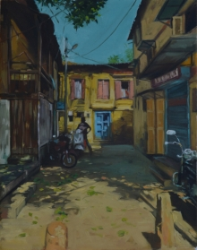 Cityscape Oil Art Painting title Breathing Lights 8 by artist Pramod Jagtap