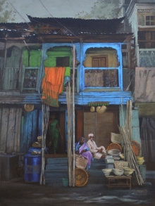Cityscape Acrylic Art Painting title Vital Support by artist Pramod Jagtap