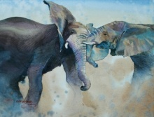 Animals Watercolor Art Painting title 'Elephants' by artist Rupesh Sonar