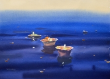 Cityscape Watercolor Art Painting title 'Evening At Varanasi 2' by artist Rupesh Sonar