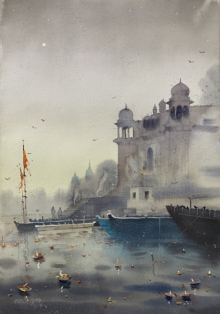 Cityscape Watercolor Art Painting title 'Evening At Varanasi 5' by artist Rupesh Sonar