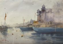 Cityscape Watercolor Art Painting title Evening At Varanasi by artist Rupesh Sonar