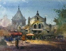 Cityscape Watercolor Art Painting title 'Mandai Pune' by artist Rupesh Sonar