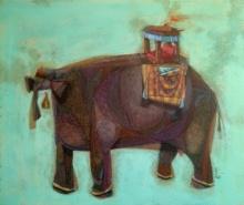 Animals Acrylic Art Painting title 'Non Ruminant' by artist Tamojit Bhattacharya