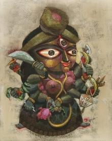 Religious Acrylic Art Painting title 'Padma' by artist Tamojit Bhattacharya