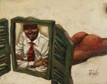 Cityscape Acrylic Art Painting title 'The Showcase' by artist Tamojit Bhattacharya