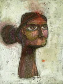 Figurative Acrylic Art Painting title 'Willingly Untitled' by artist Tamojit Bhattacharya