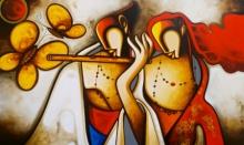Religious Acrylic Art Painting title Radha Krishna by artist Om Swami